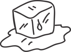 drawing of a melting ice cube